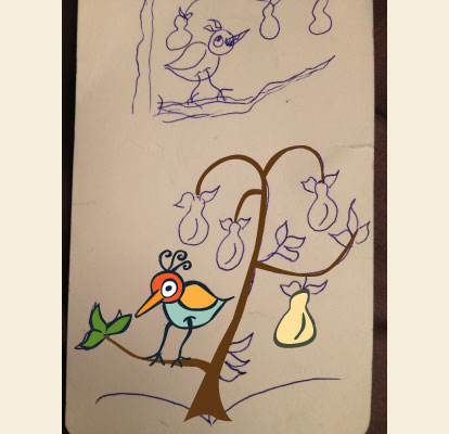 A Partridge in a Pear Tree in progress Illustration Dean Allan Design